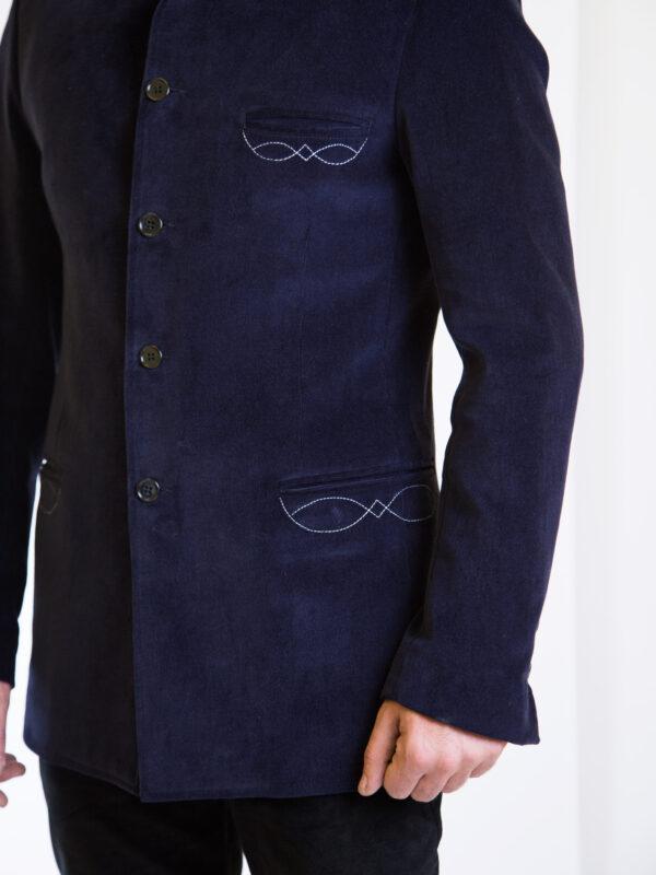 giacca-sarda-colletto-coreana-velluto-blu