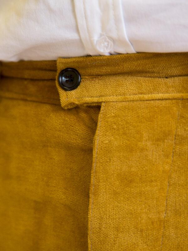 Pantalone velluto elasticizzato senape uomo