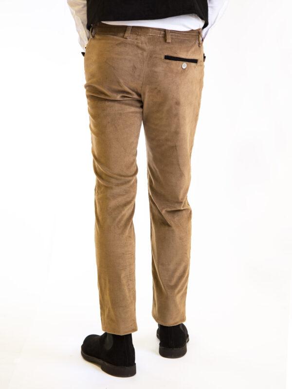 Pantalone velluto elasticizzato beige uomo