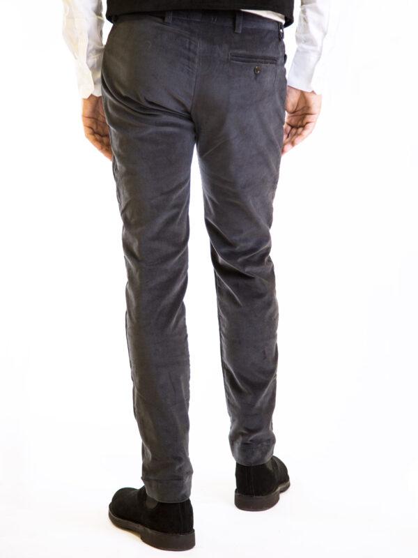 Pantalone velluto elasticizzato grigio uomo